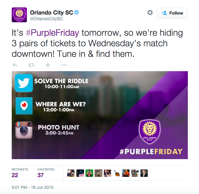 Orlando City Soccer Club Hosts Social Media Scavenger Hunt Social